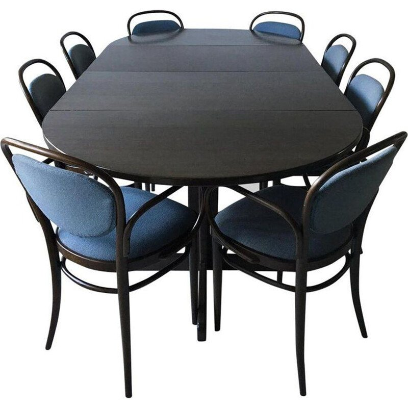 Vintage Dining set Large Brown and Blue with Extendable Table, Thonet, circa 1980s
