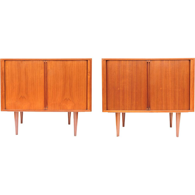 Pair of vintage cabinets in teak by Kai Kristiansen for Fm Møbler, Danish, 1960s