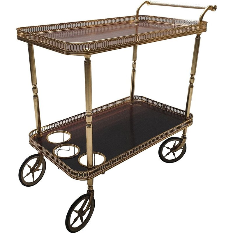 Vintage trolley in rosewood and brass 1960s
