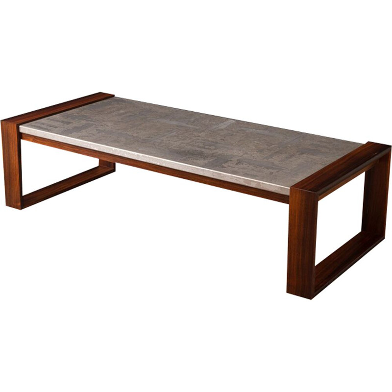 Vintage coffee table in rosewood and aluminium 1970s