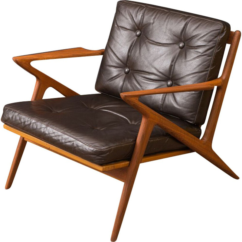 Vintage Z armchair for Selig in brown leather and teak 1950