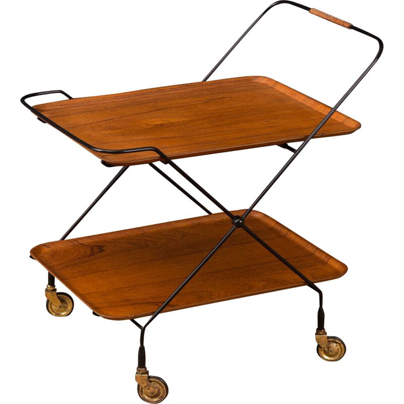 Vintage serving trolley in teak and metal 1950s