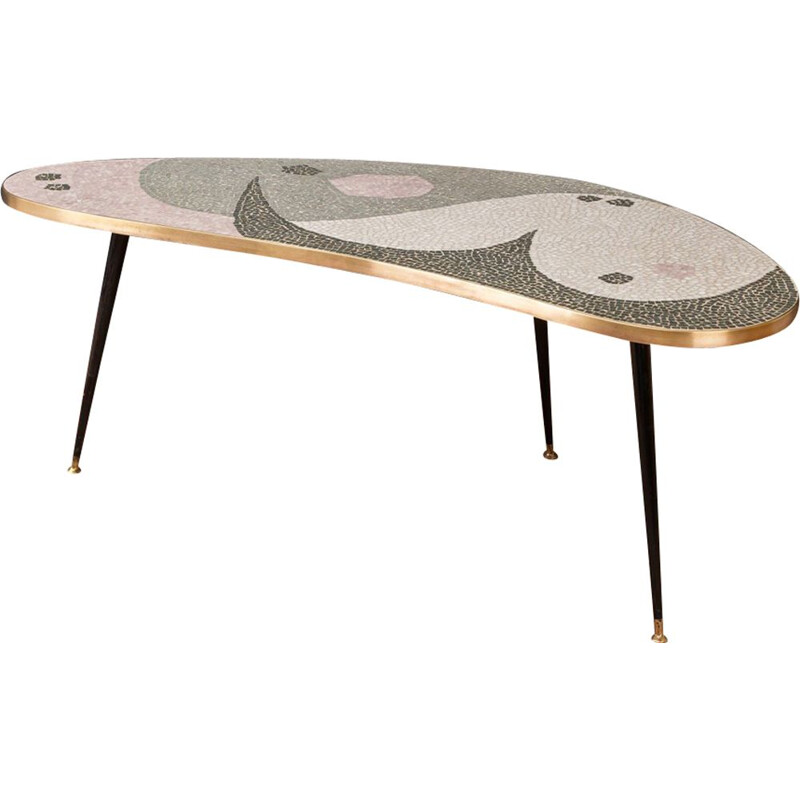 Vintage german coffee table in stone brass and mosaic 1950s