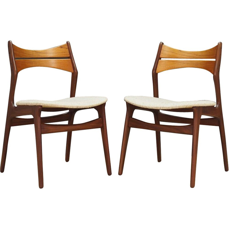 Set of 2 vintage danish chairs by Buck in wood and white fabric 1970