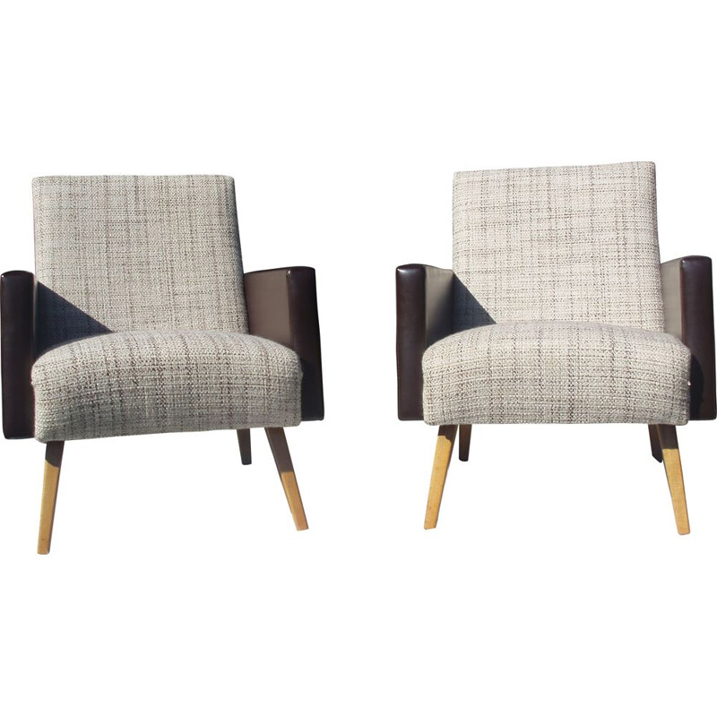 Pair of vintage armchairs in light fabric and brown leatherette 1970