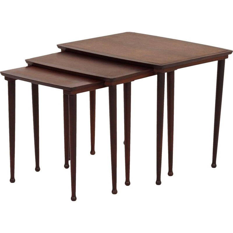 Vintage danish nesting tables for Møbelintarsia in rosewood 1950