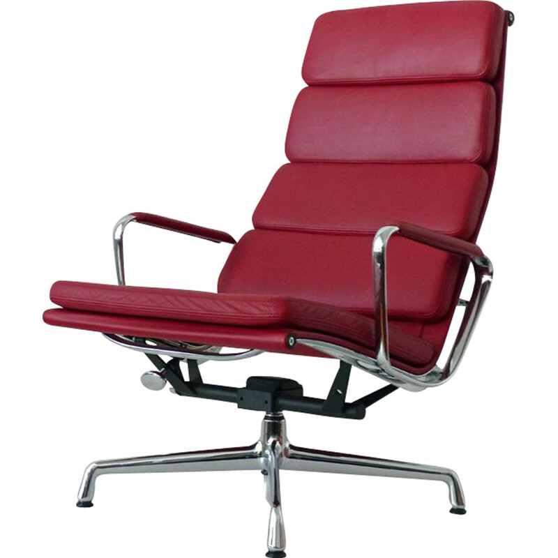 Vintage Soft Pad armchair by Eames for Vitra in red leather and aluminium