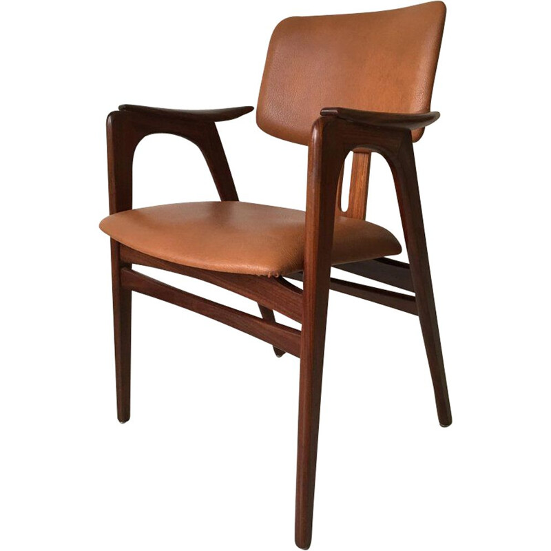 Vintage teak armchair for Pastoe in brown leatherette 1950s