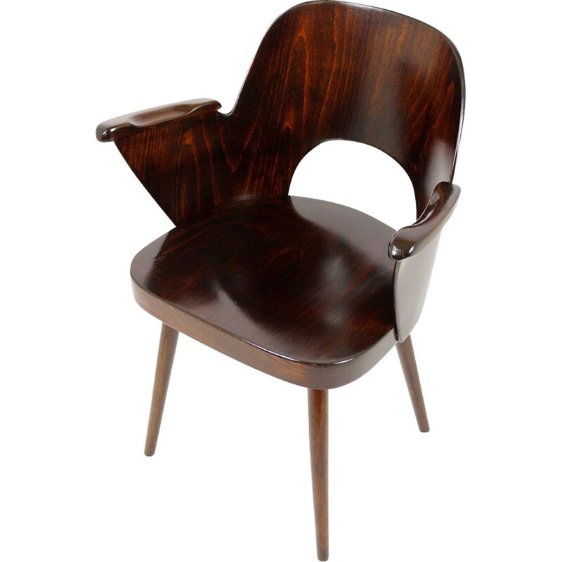 Vintage armchair for TON in beech and bentwood 1950