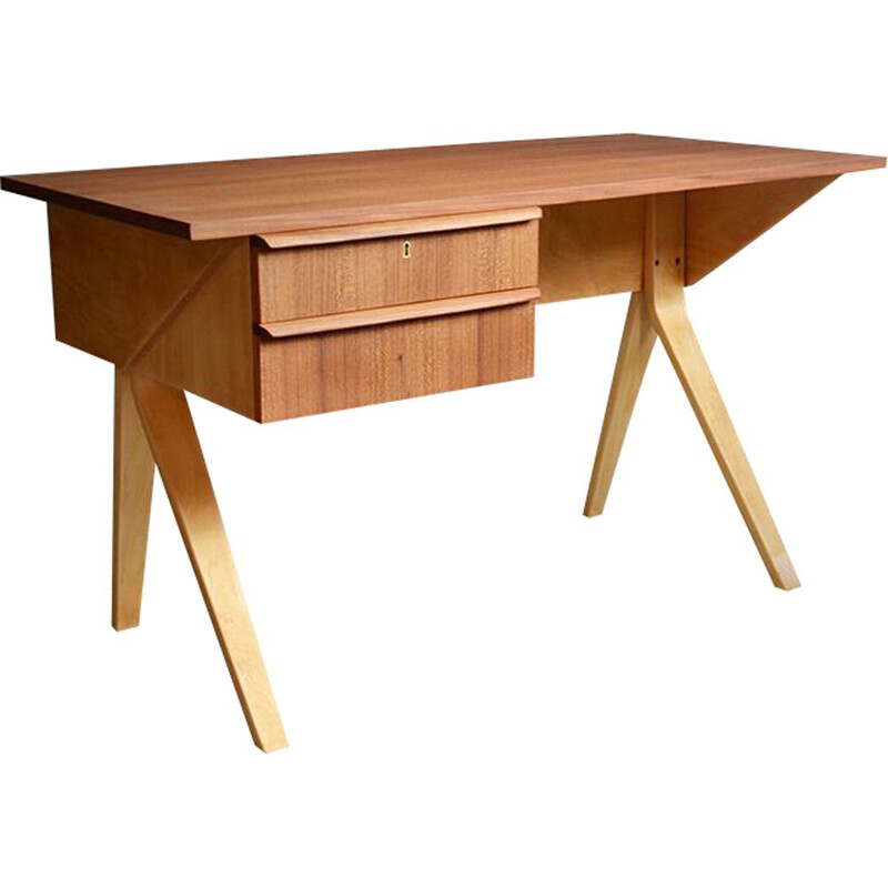 Vintage dutch EB 02 desk for Pastoe in teak and plywood 1950