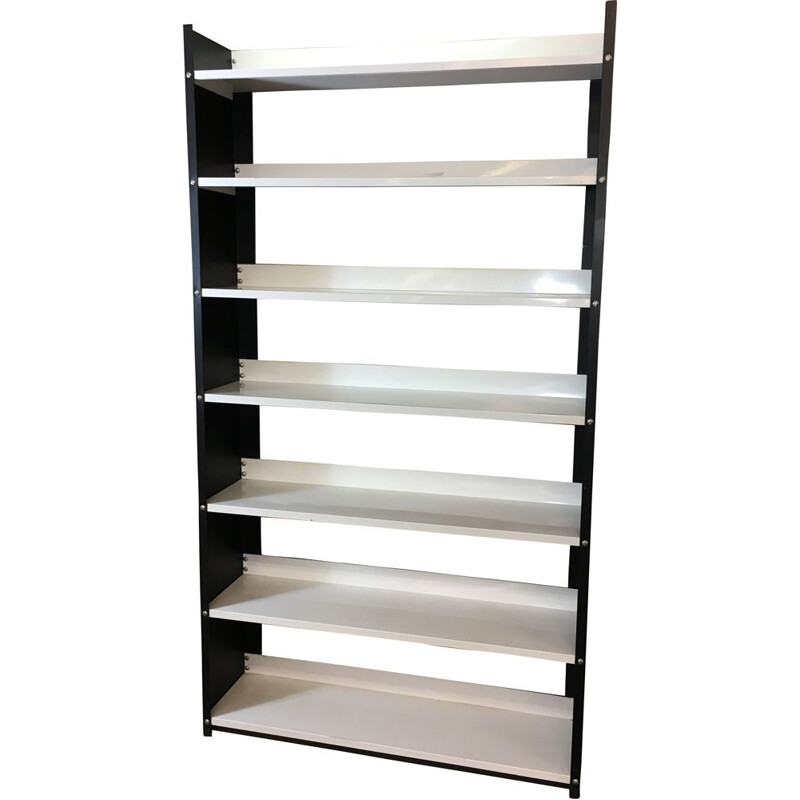 Vintage black and white Dutch bookcase in Steel by Tomado, 1960