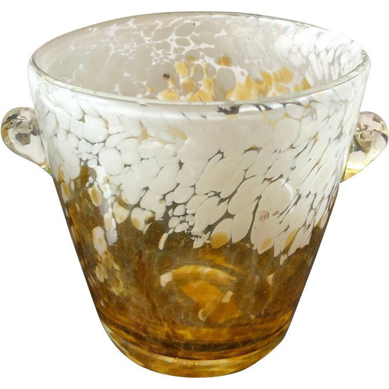 Vintage Venini Yellow and White Murano Glass Ice Bucket, 1980