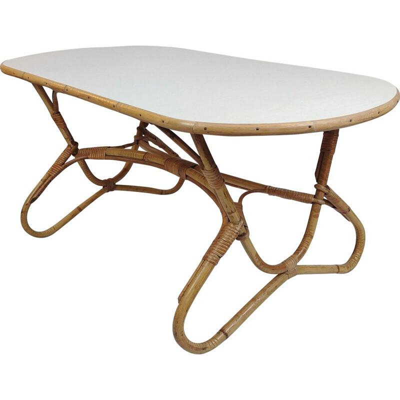 Vintage coffee table in Bamboo and white by Dirk Van Sliedrecht for Rohé Noordwolde,1960