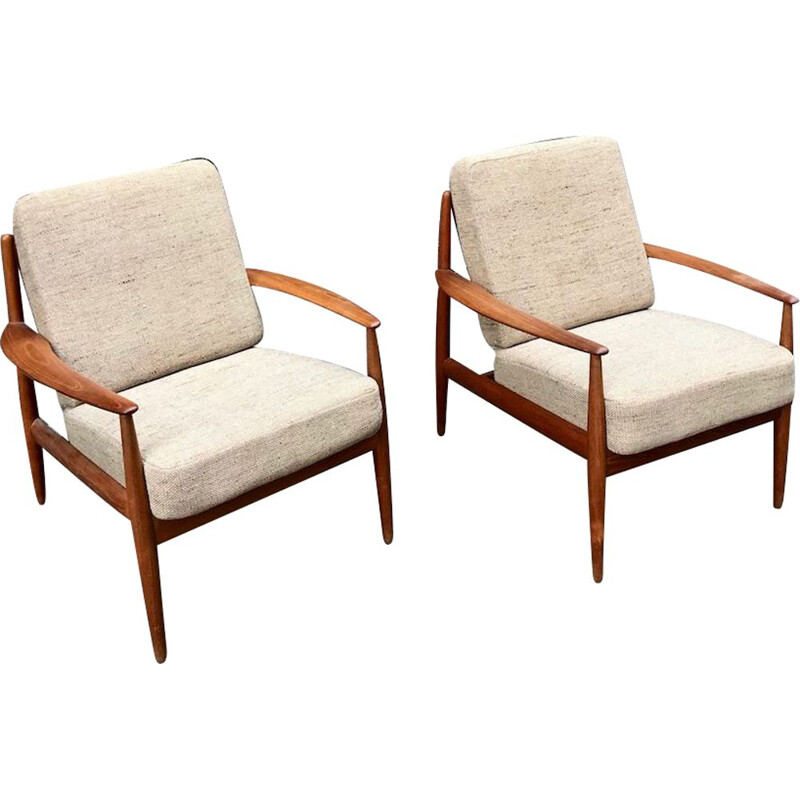 2 vintage armchairs by Grete Jalk for France&Son, Denmark, 1960