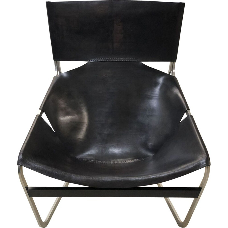 Vintage chair in black leather, 1960