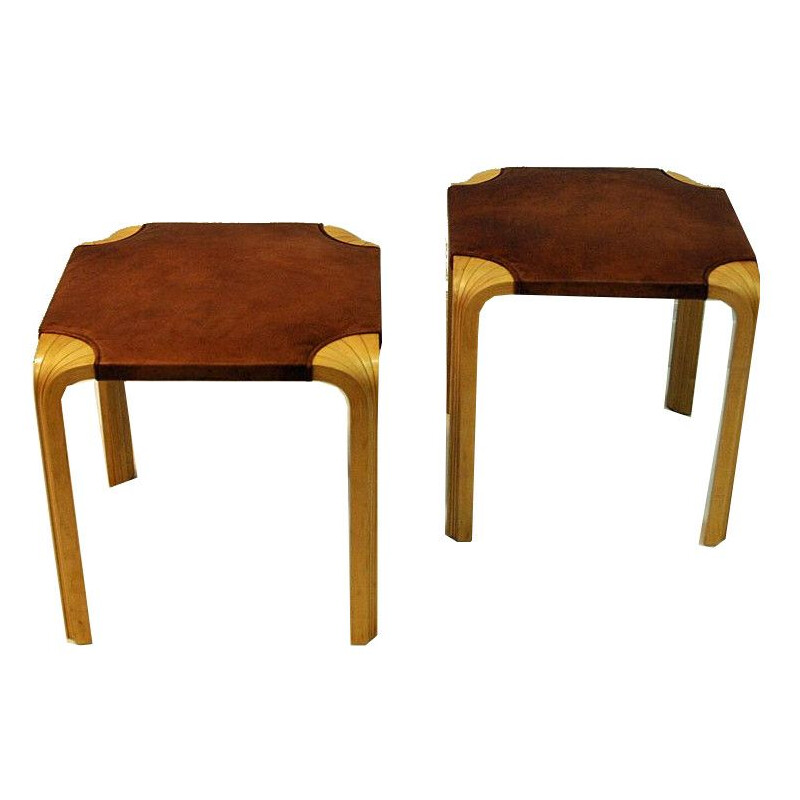 Vintage leather stools by Alvar Aalto model X601 for Artek Finland -1954