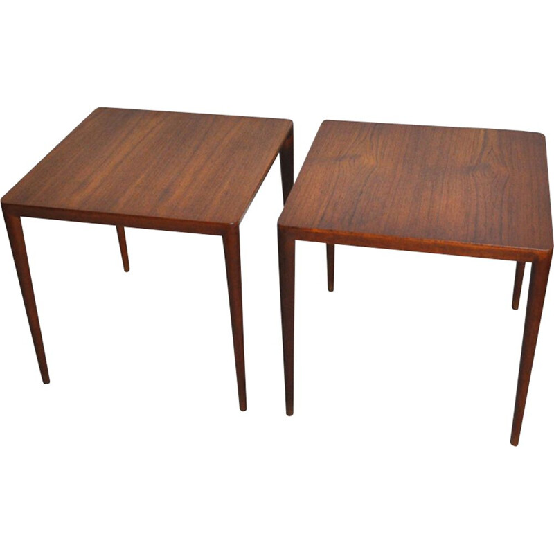 Set of 2 vintage Side Tables in teak Severin Hansen by Haslev Møbelsnedkeri in Denmark 1950s