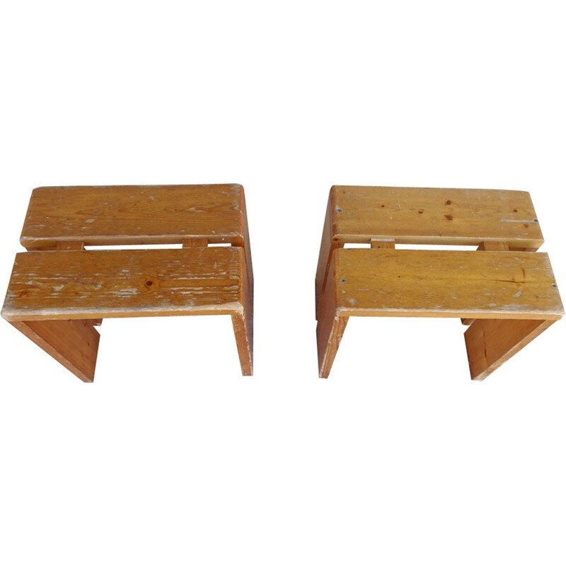 Vintage pair of stools in pine by charlotte perriand,1960