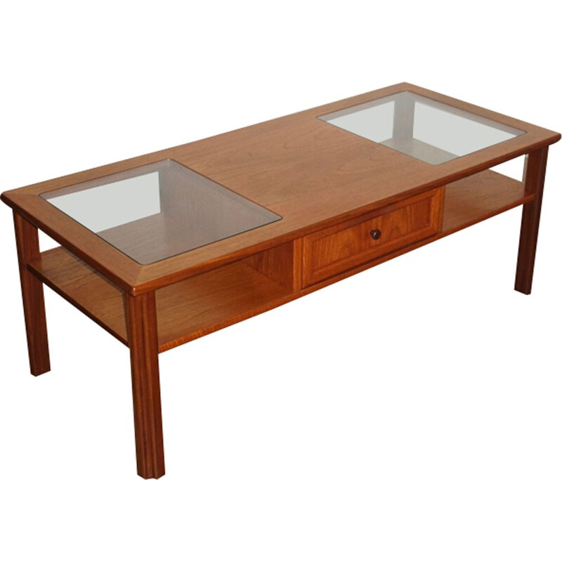 Vintage coffee table Gplan in teak and glass, British, 1970s