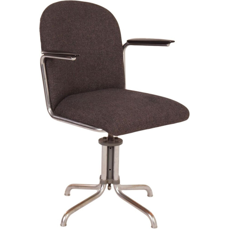 Vintage swivel desk chair Grey Gispen 356 by W.H. Gispen, 1930s