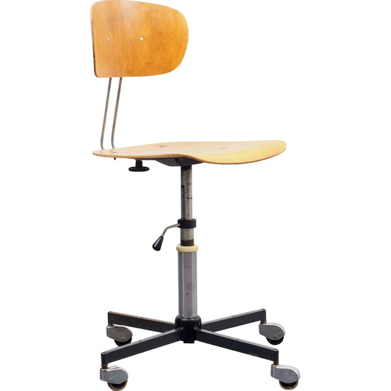 Vintage desk chair in industrial design, wood, 1960s