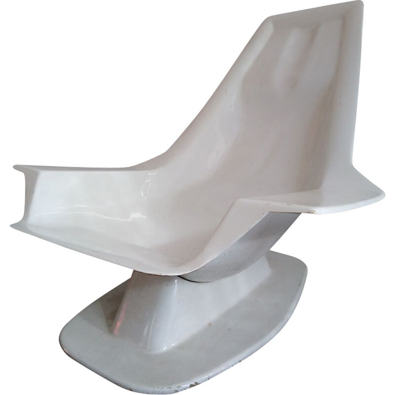Vintage pool side chair Charles Zublena in fiberglass for Les Plastiques de Bourgogne, 1960s