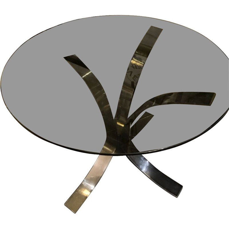Vintage table with smoked glass top by Boris Tabacoff
