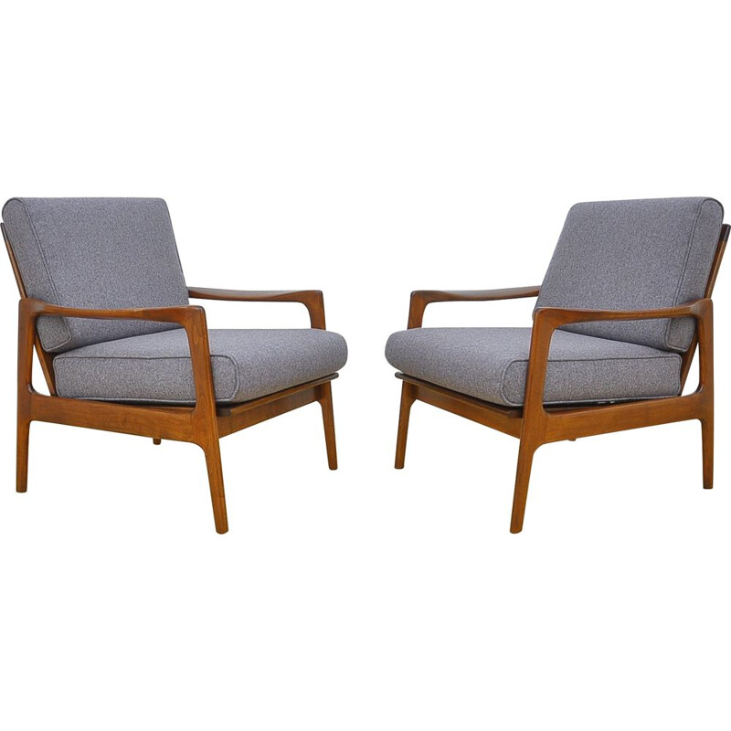Pair of grey Danish armchairs in cherrywood