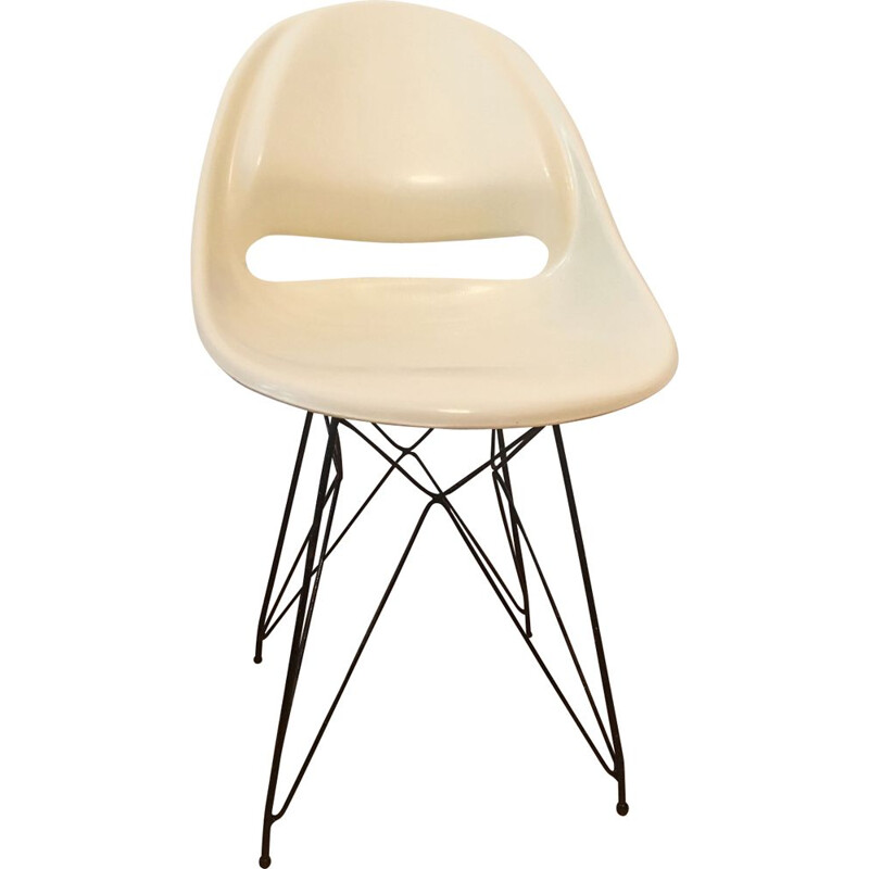 Beige chair in fiberglass by Miroslav Navratil for Vertex