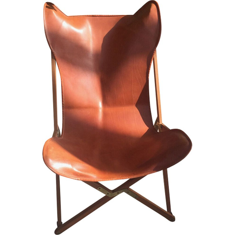 Butterfly AA teak and leather armchair