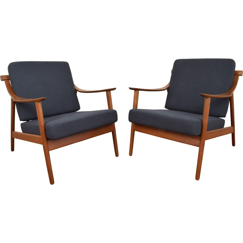 Pair of MK-119 armchairs in teak by Arne Hovmand-Olsen