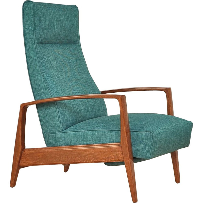Green armchair in beechwood with folding footrest