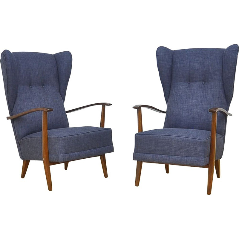 Pair of blue armchairs in beechwood