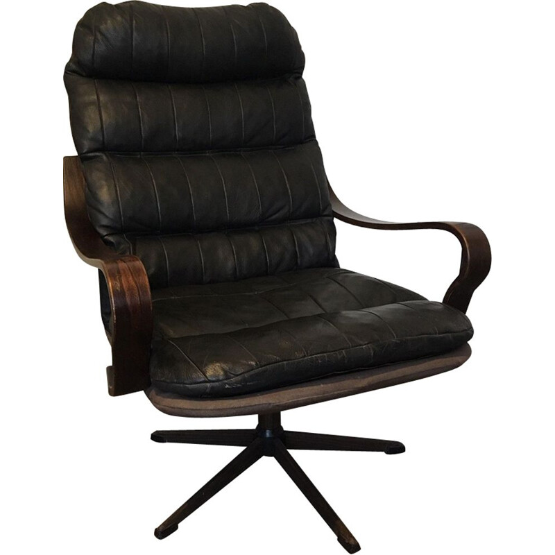 Vintage Danish armchair in black leather