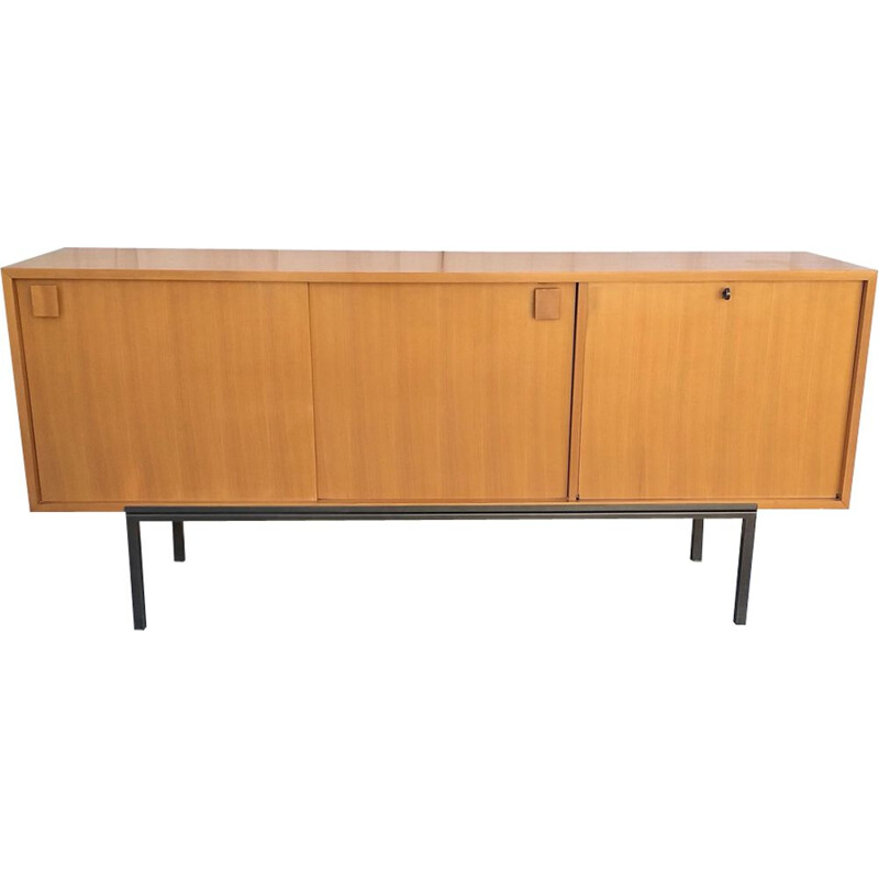 Vintage sideboard in ash by Bernard Marange for Meubles Polyvalents, France, 1950s