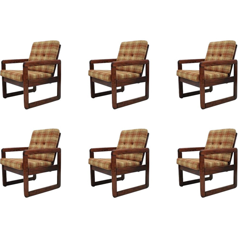 Set of 6 vintage armchairs from Czechoslovakia, 1970