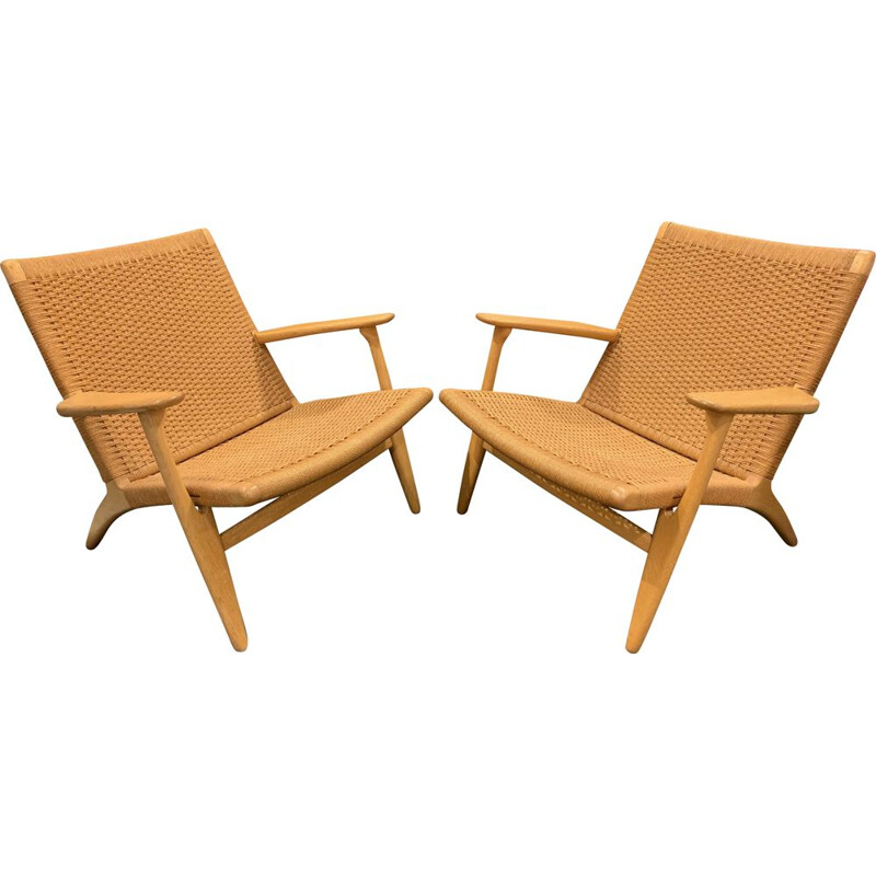 2 vintage Scandinavian armchairs by Hans Werner and Carl Hansen from the 50s