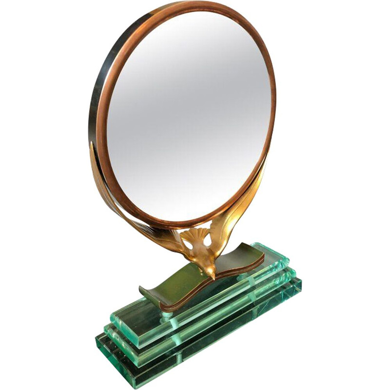 Vintage italian mirror in copper and green,1940