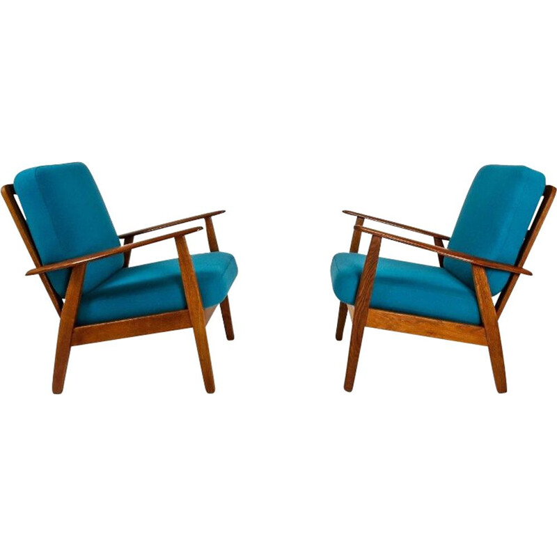 Set of 2 Armchairs in Teak & Oak, Danish 1950s