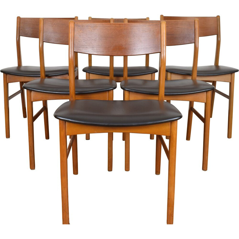 Set of 6 Dining Chairs, beechwood and teak, Danish 1960s