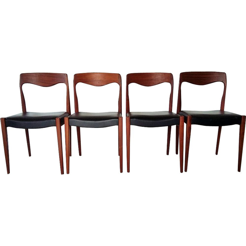 Set of 4 vintage chairs in black skai and teak