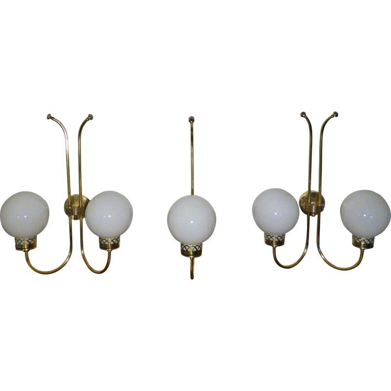 Set of 3 vintage wall lamps Art Deco in brass and opaline 1950s