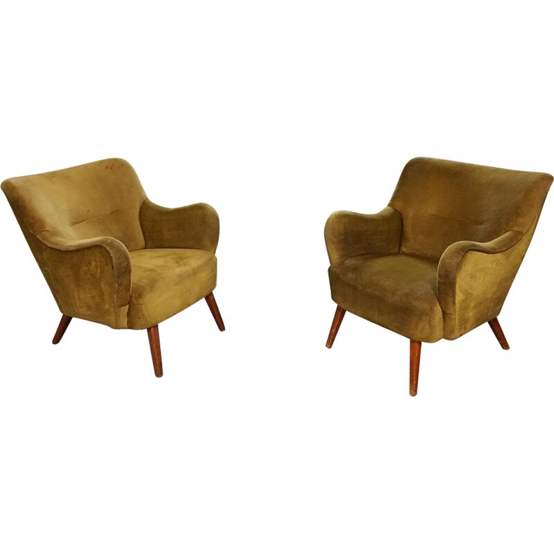 Pair of vintage armchairs velvet color Golden Italian 1950-60s