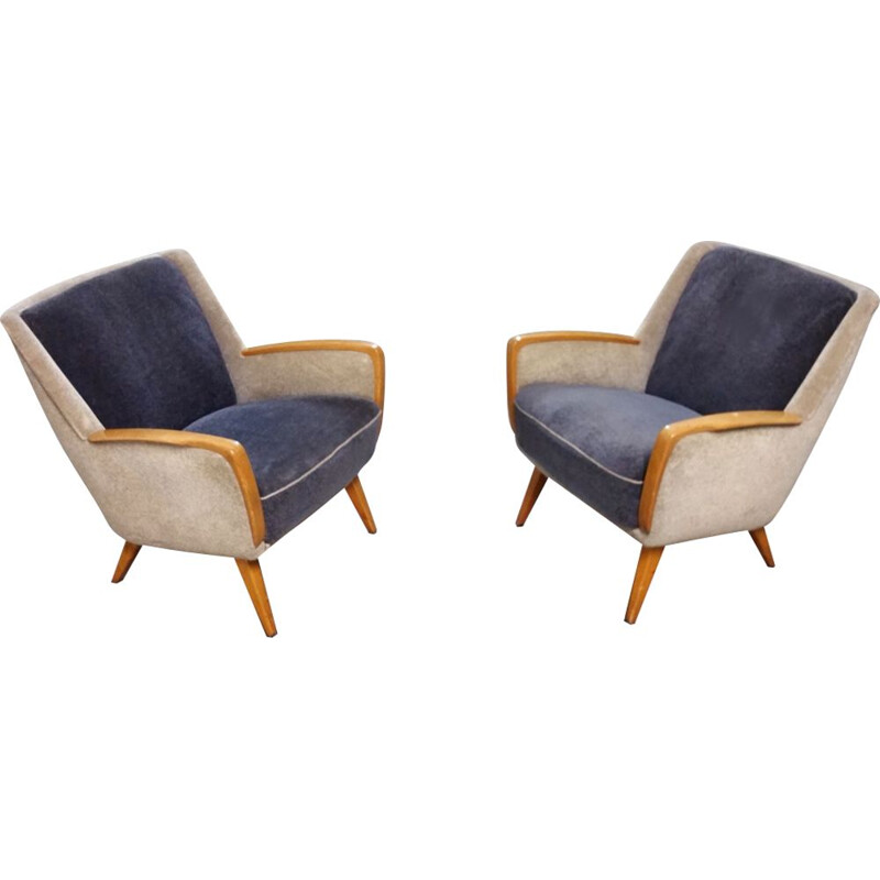 Pair of vintage armchairs club bi color from the 1950s