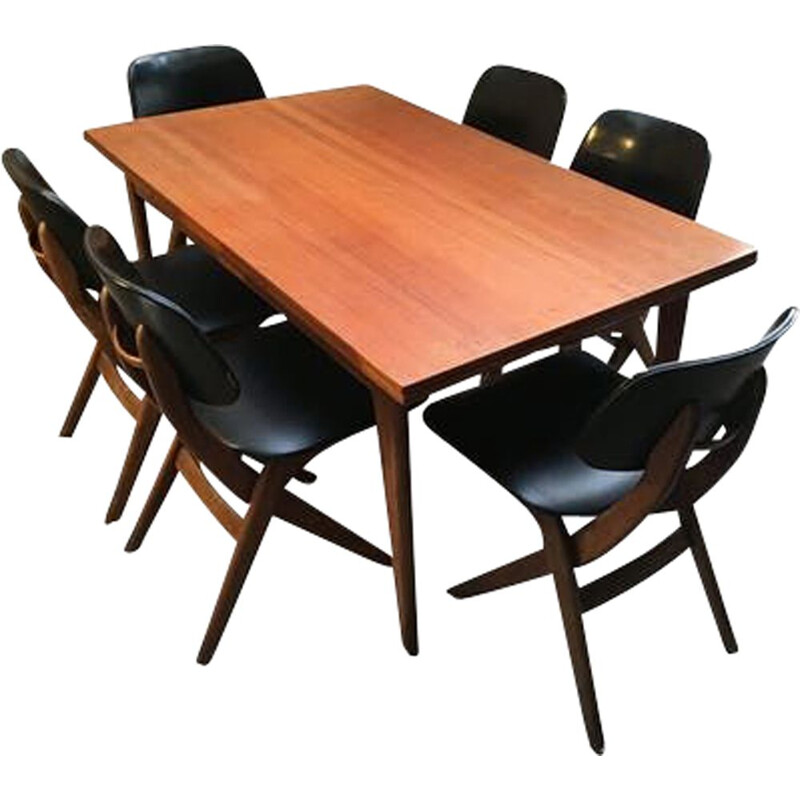 Set of 6 vintage chairs and table Louis van Teeffelen for Web