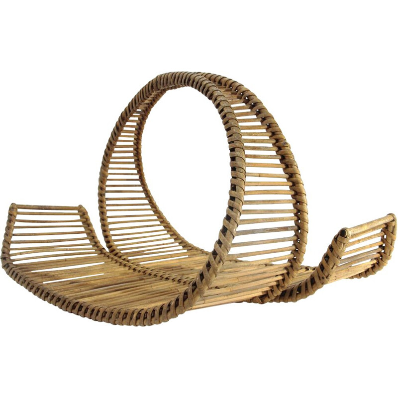 Vintage Italian rattan basket by Ico Parisi for Bonacina,1950