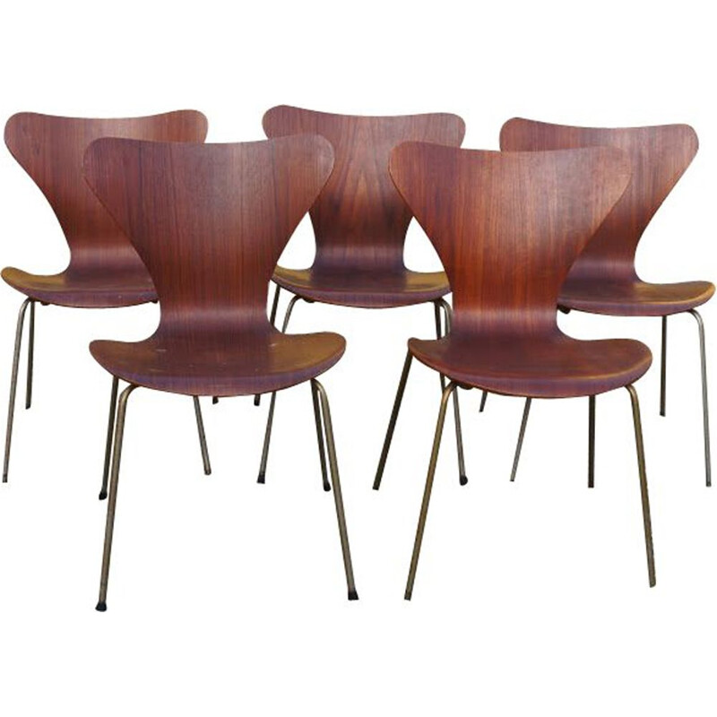 4 vintage dining chairs in teak by Arne Jacobsen,1960