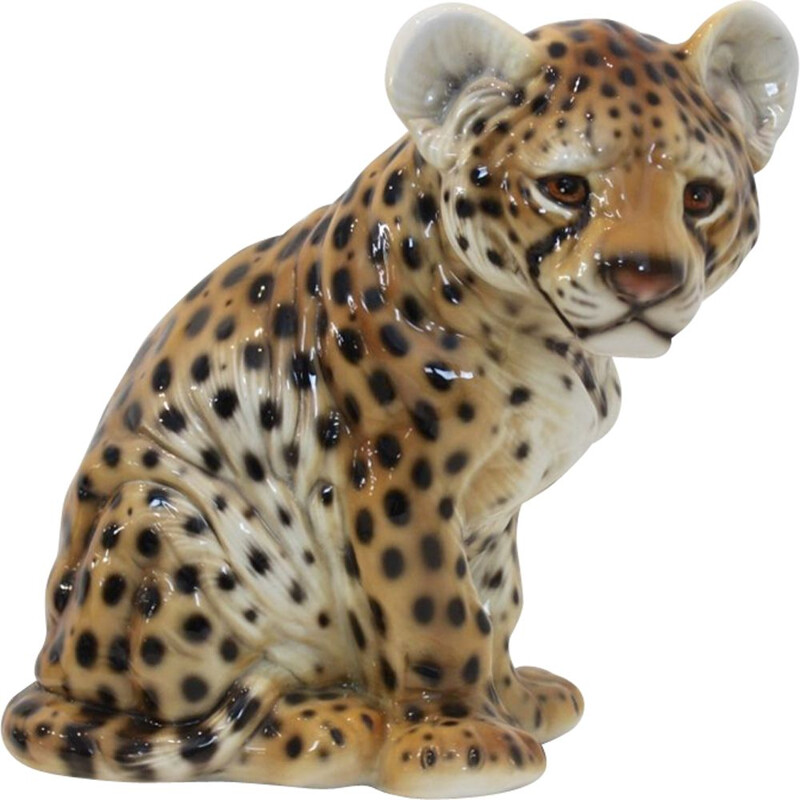"Vintage Hand Painted Sculpture in Porcelain ""Puppy-Leopard"", 1970"