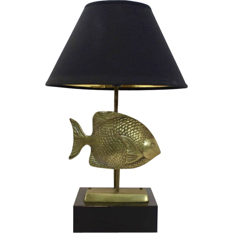 Vintage table lamp in brass with a fish sculpture by Deknudt,1970