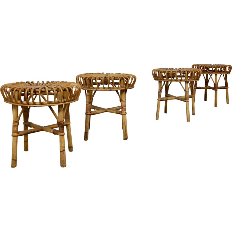 Set of 4 vintage stools in rattan 1960s